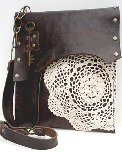 Urban Heirlooms Med. Leather Boho w/French Knot Doily