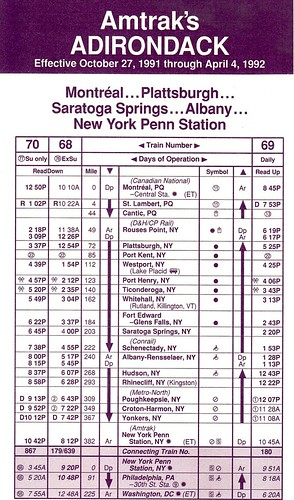 Amtrak Adirondack 1991 Schedule