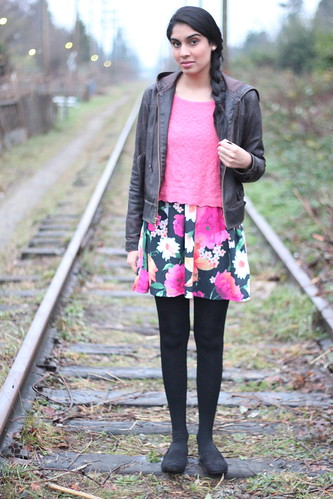 floral + knit crop top