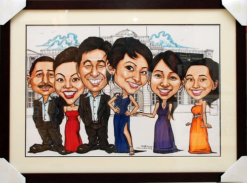 group caricatures for Vacheron Constantin - framed up