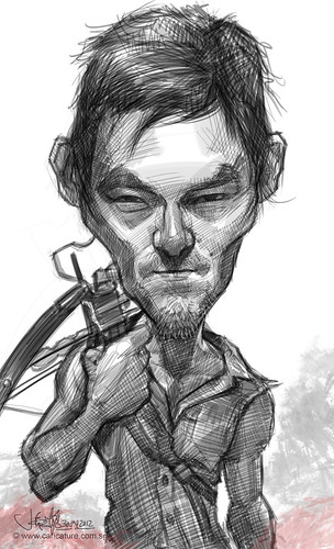 digital caricature sketch of Norman Reedus as Daryl Dixon