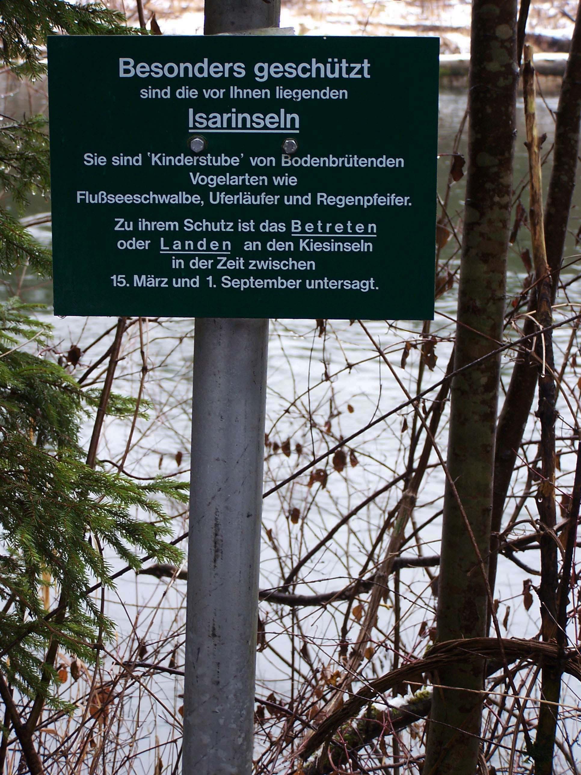 Schild Landschaftsschutzgebiet Isartal Vogelinseln, Dezember 2012
