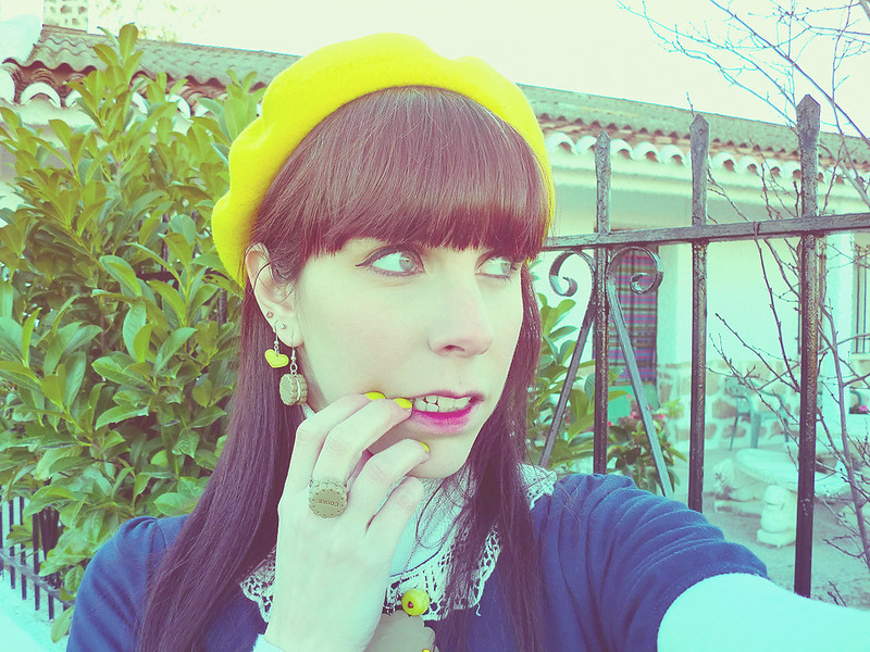 Yellow Beret & Ai Candies accessories