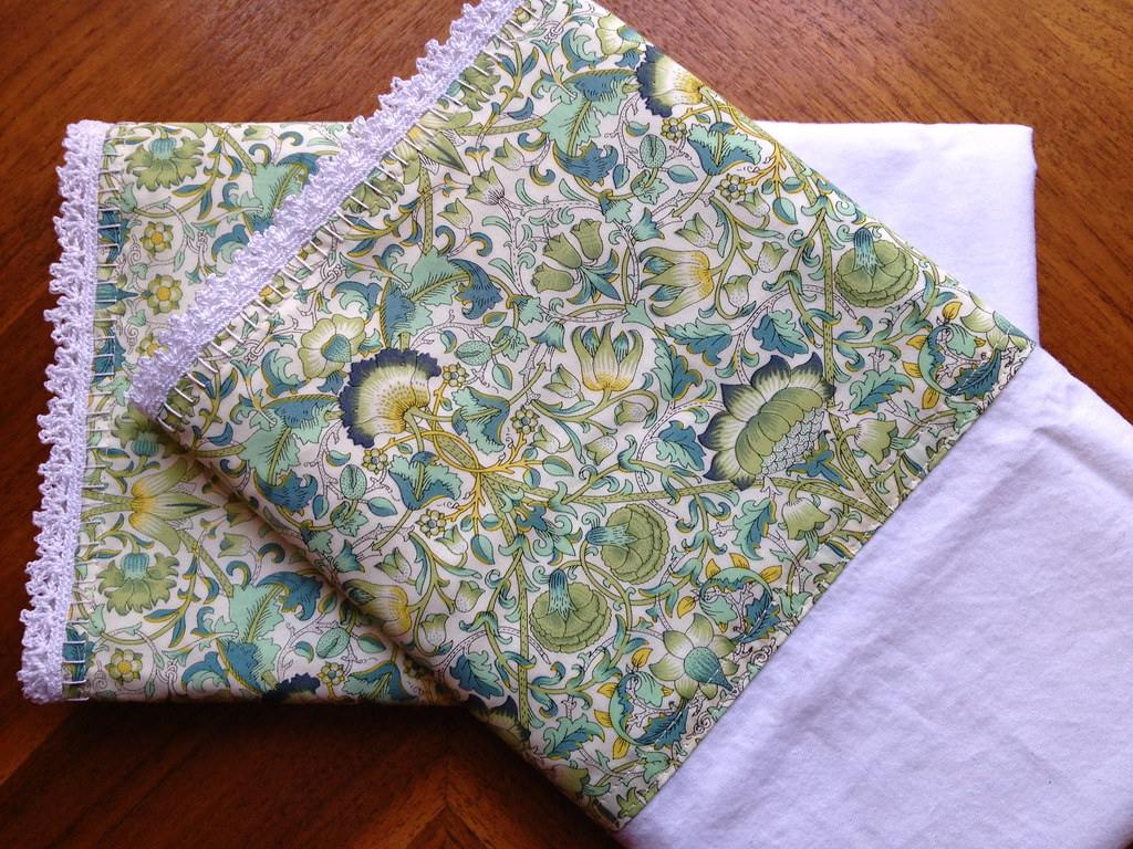 Liberty crochet-edge pillowcases