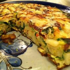 moussaka(0.0), meal(1.0), breakfast(1.0), vegetable(1.0), frittata(1.0), vegetarian food(1.0), produce(1.0), food(1.0), dish(1.0), cuisine(1.0), quiche(1.0), tortilla de patatas(1.0), omelette(1.0), lasagne(1.0),