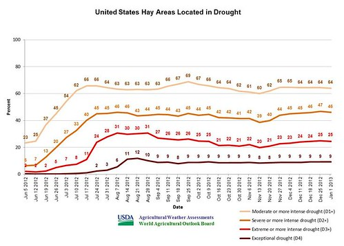 Agricultural Weather Assessment chat of United States hay areas located in drought.
