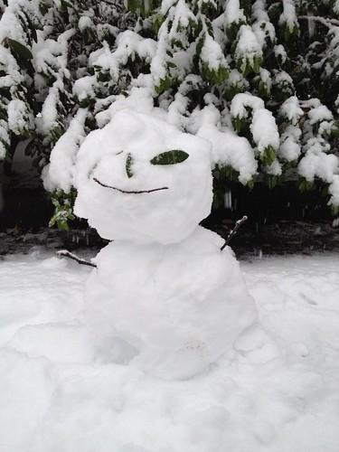 誰かがつくった雪だるま。なんだかかわいい。