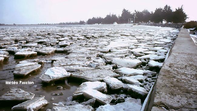 banquise sur les rivages de l'Ile de Ré lors de la vague de froid de janvier 1985 météopassion
