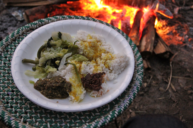Eating Nagaland food in Nagaland