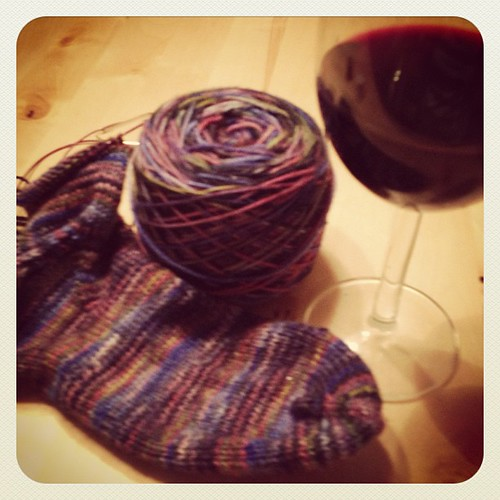 Sock knitting and Malbec