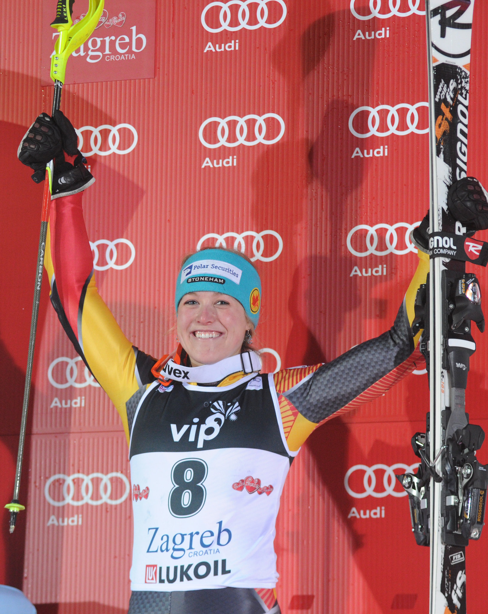 Erin Mielzynski celebrates a third-place finish in the World Cup slalom in Zagreb, Croatia.
