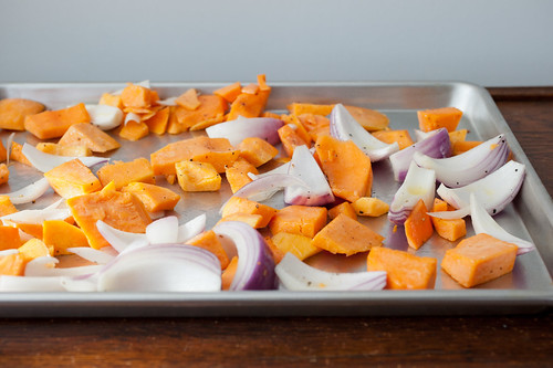 roasted butternut squash and red onion with tahini and za'atar