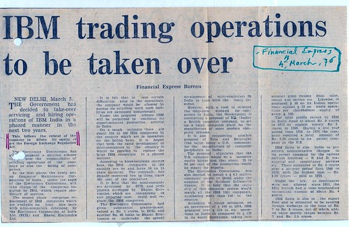 IBM leaves India 04 March 1976 - News in Indian Express, India