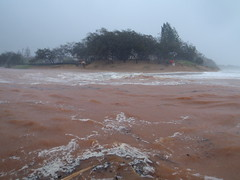 Moneys Creek Bargara. Wet and wild conditions at high tide, as ex cyclone Oswald passes by.