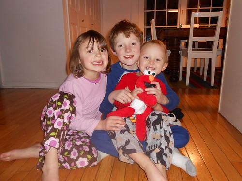 Amelia, Braxton, Evan, Elmo