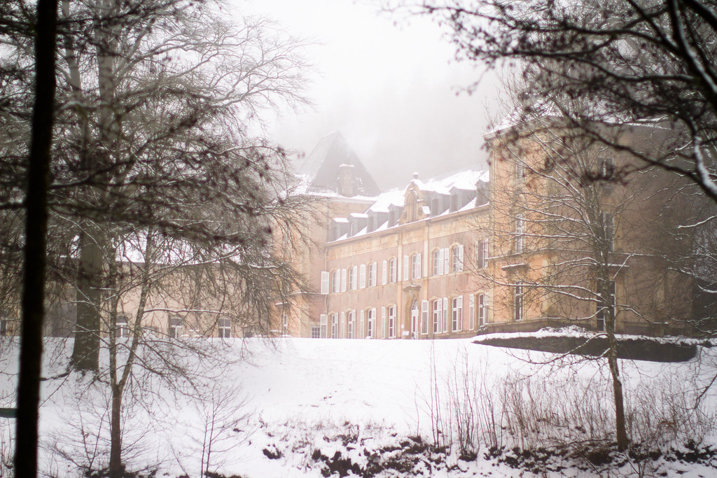 Chateau du Pont d'Oye in Arlon, Belgium in winter snow 4