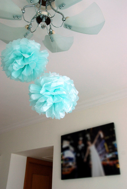 Tiffany blue pom pom