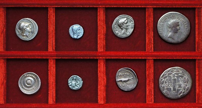 Octavian HCRI 428 Mars Shield, HCRI 429 IMP VII quinarius, HCRI 430 Aegypto Capta, HCRI 433 Cos VI Cistophorus, Ahala collection, coins of the Roman Republic
