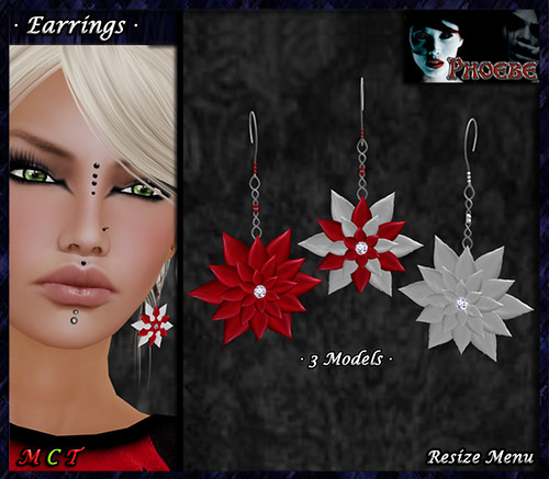 [$1L PROMO] *P* Poinsettia Earrings ~Candy Cane~