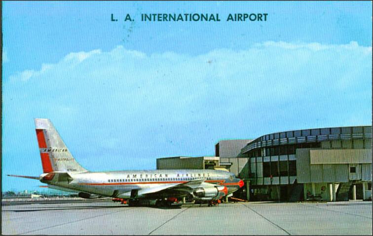 Venir en avion à Los Angeles : Carte postale de l'aéroport de LA. Photo de 1950sUnlimited