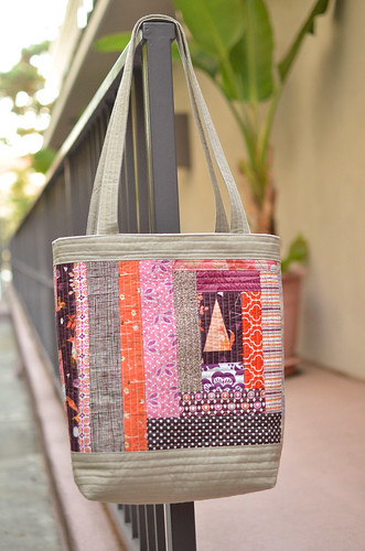 purple quilted tote side a