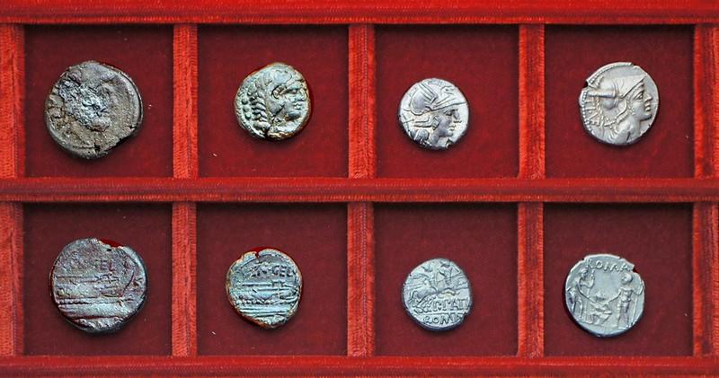 RRC 232 CN.GELI bronzes, RRC 233 P.PATVS Aelia variety denarius, RRC 234 TI.VETVR Veturia oath-scene denarius, Ahala collection, coins of the Roman Republic