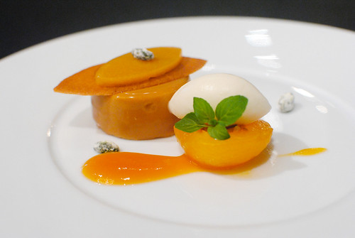 Praline mousse with a pistachio filling and an apricot compote, almond ice cream