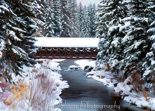 christmas bridge winter holiday snow creek painting colorado vail painter coveredbridge corelpainter gorecreek