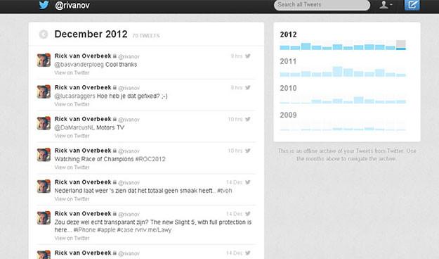 Twitter — Twitter Archive descargar tweets