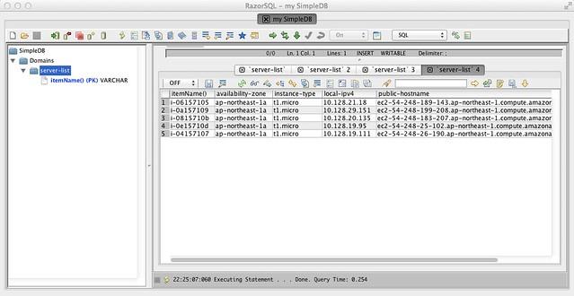 RazorSQL - データも5台に減りました