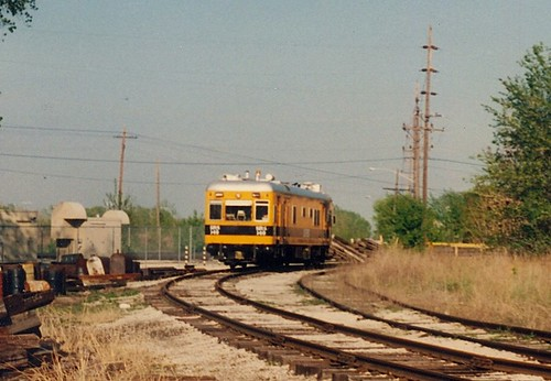 Sperry Rail Services self propelled track detection car at Chicago Ridge Junction.  Chicago Ridge Illinois.  May 1990. by Eddie from Chicago