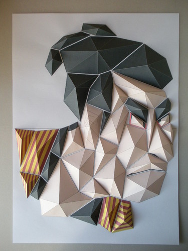 origami mosaic of man's face