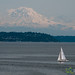 Sailboat under Mount Rainier - Seattle, Washington