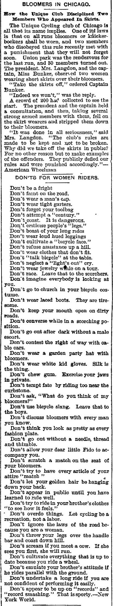 Unique Cycling Club Rules for Women 1895