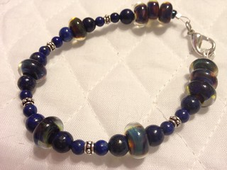 Lampwork bracelet to match the owl