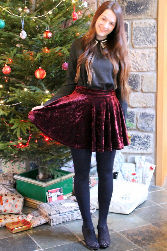 Chicwish embellished blouse and red velvet skirt