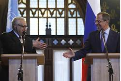 United Nations envoy to Syria Lakhdar Brahimi with Russian Foreign Minister Sergey V. Lavrov in Moscow. The held high-level discussions on the war in Syria. by Pan-African News Wire File Photos
