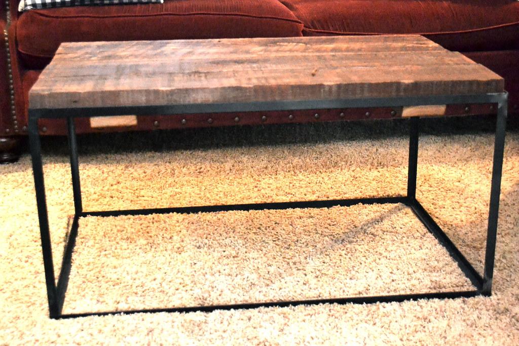 Amazing A DIY metal and barn wood coffee table