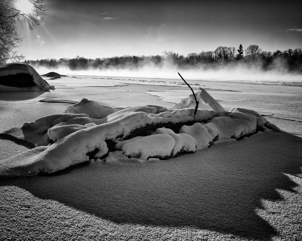 Winter steam on the Mississippi River at Sauk Rapids, MN