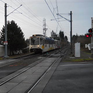 A Hillsboro-bound train approaches Ruby Junction