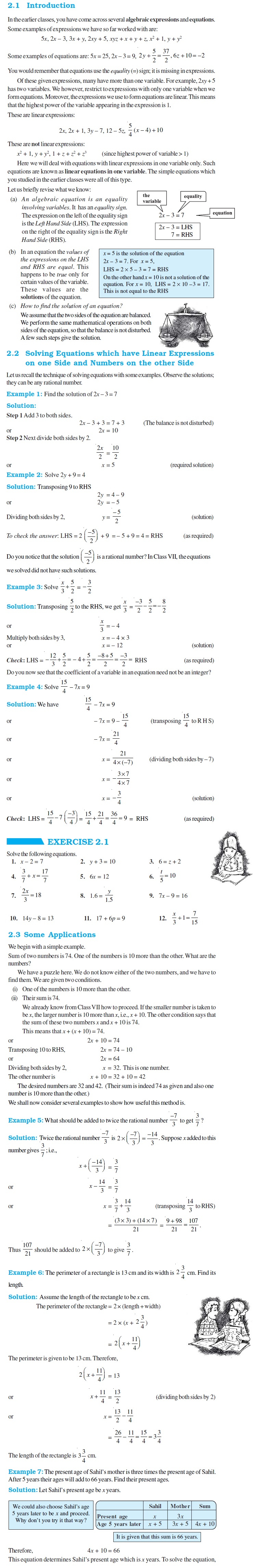 NCERT Class VIII Maths Chapter 2 Linear Equations in One Variable