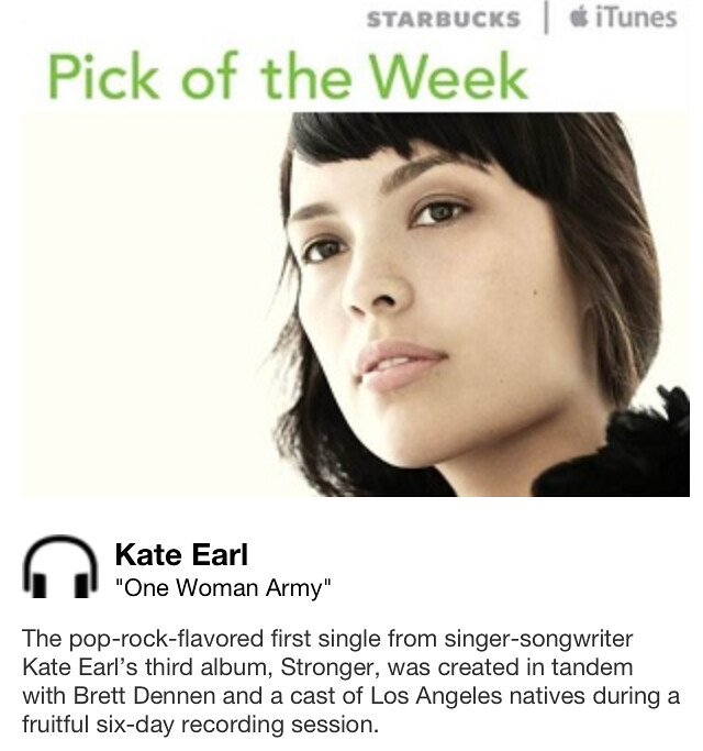 Starbucks iTunes Pick of the Week - Kate Earl - One Woman Army