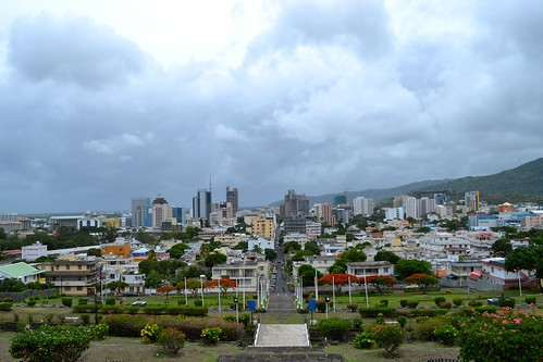 View of (a stormy) Port Louis from the hill