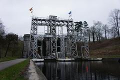 Elevador do canal do centro em Houdeng-Aimeries, Bélgica