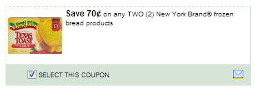 $0.70/2 New York Brand Frozen Bread Products Coupon