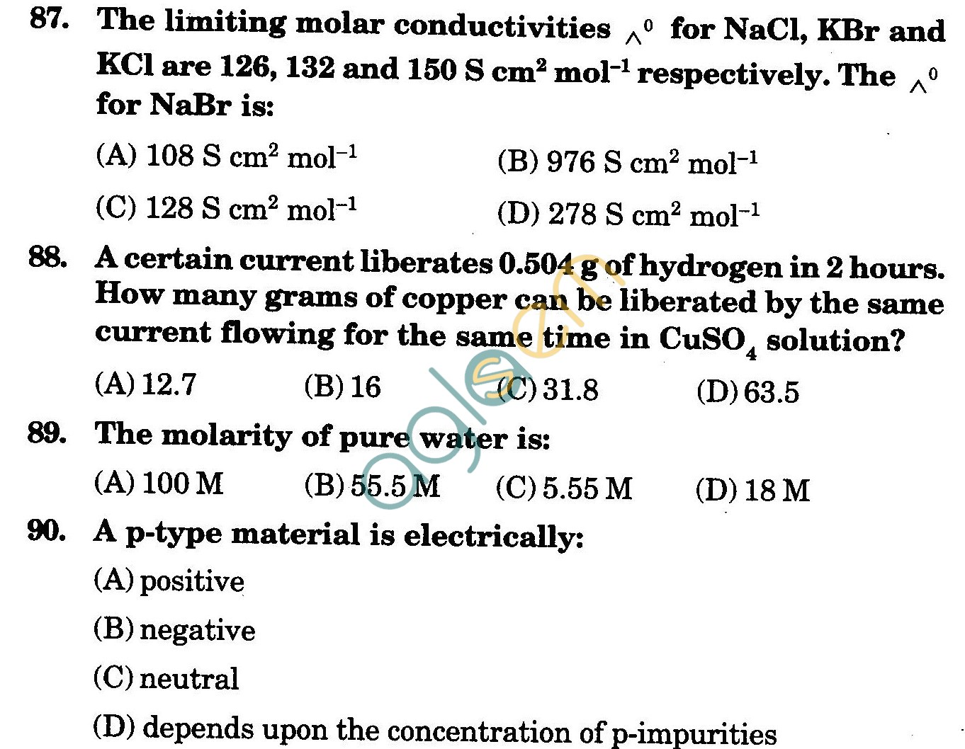 NSTSE 2009 Class XII PCM Question Paper with Answers - Chemistry
