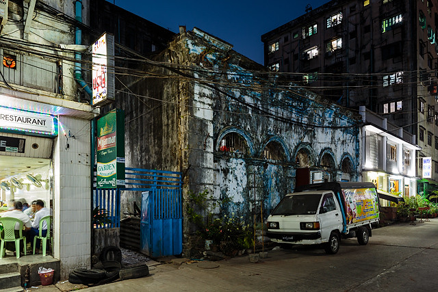 The blue facade on the 33rd street in Yangon, Myanmar