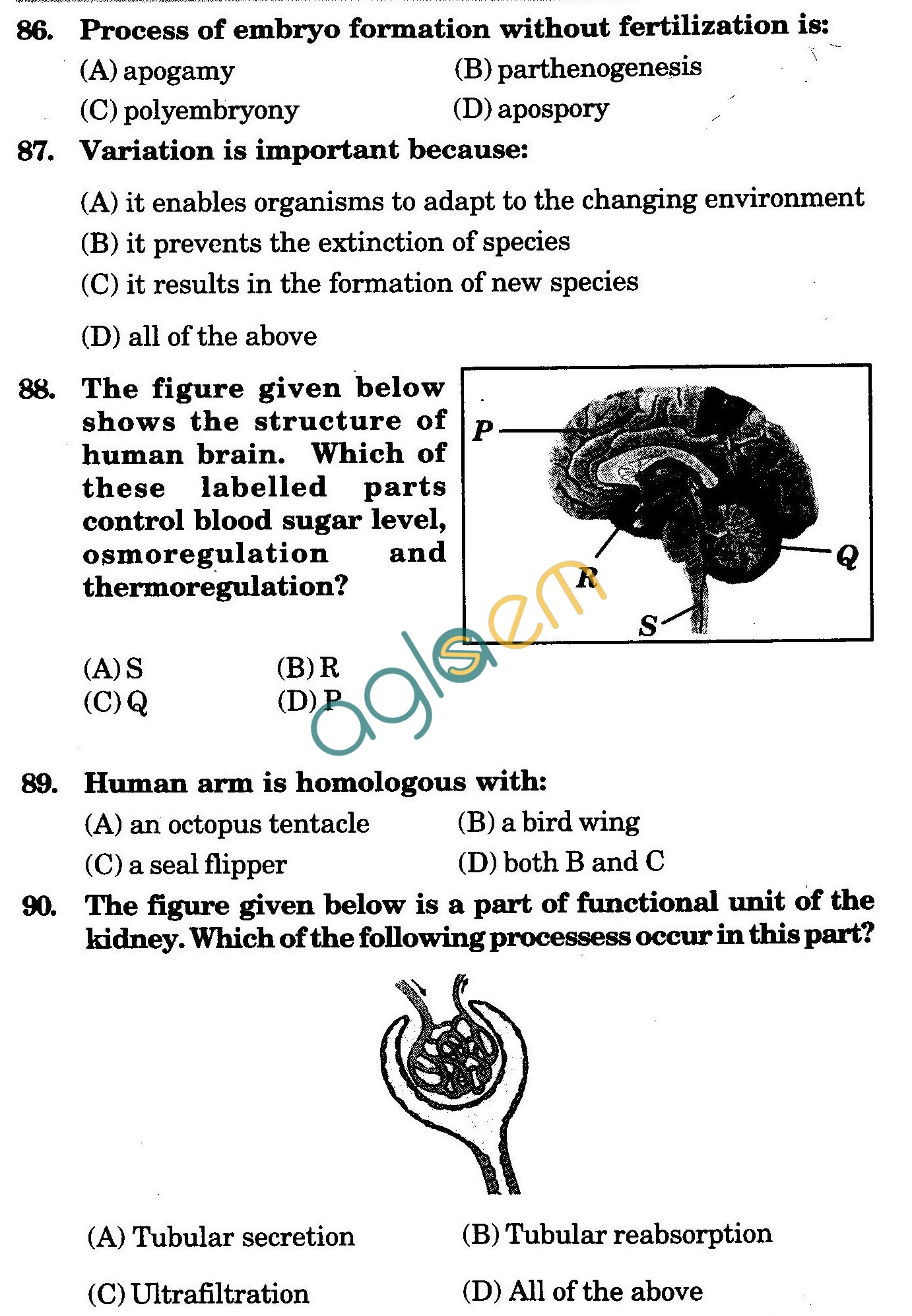 NSTSE 2009 Class X Question Paper with Answers - Biology