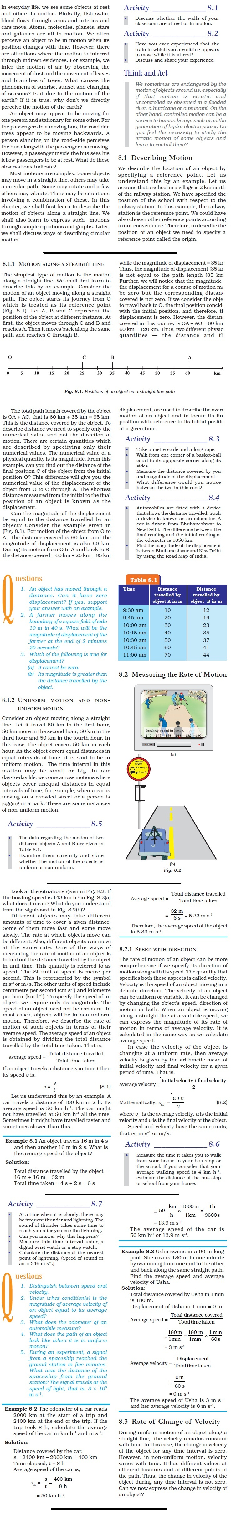 NCERT Class IX Science Chapter 8 Motion
