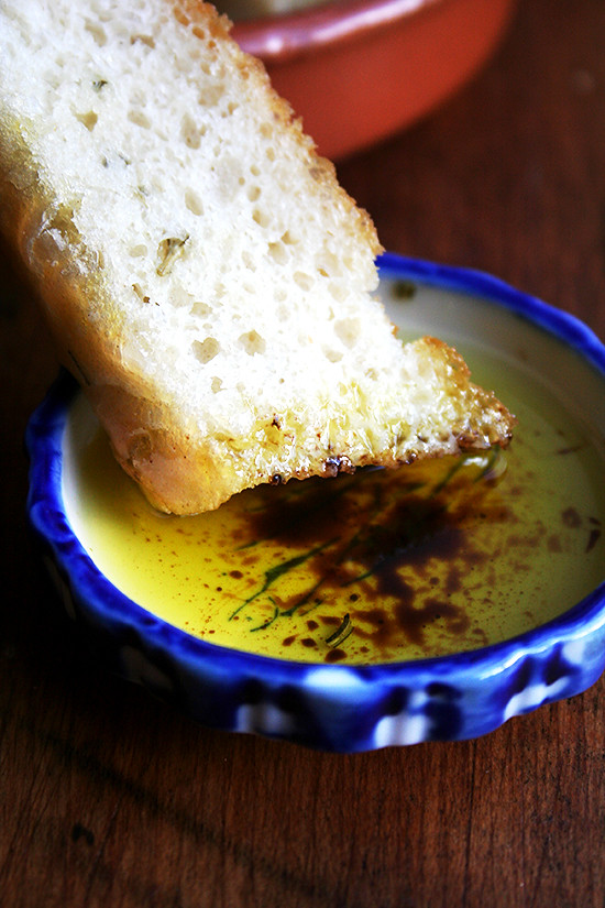 faux focaccia with basil oil & balsamic